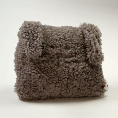 Almohada cuadrada de peluche cara de conejo, Mediano, Gris
