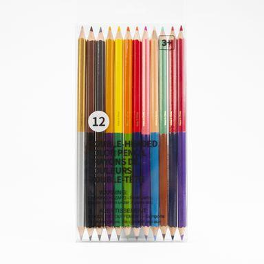 Paquete de 12 colores doble punta, Mediano, Multicolor