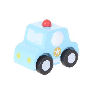 Juguete de madera Carro de policía, Mediano, Azul