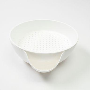 Colador de doble capa, Mediano, Blanco
