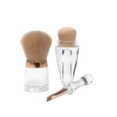 Brocha de maquillaje 3 en 1, Mediana, Multicolor