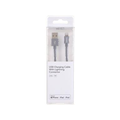 Cable cargador USB a Light Ning 2.4 mt, Pequeño, Gris