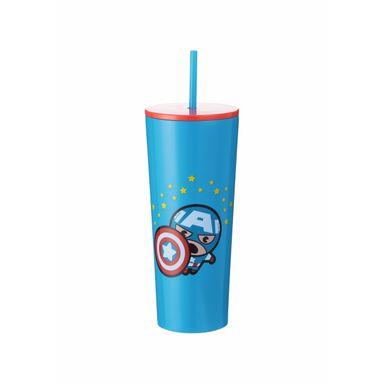 Vaso con pitillo 750 ml Capitán América Marvel, Grande, Azul oscuro