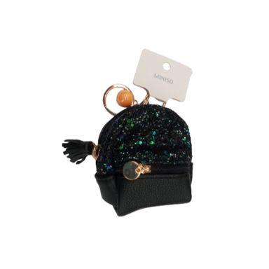 Llavero monedero forma de mochila, Pequeño, Negro