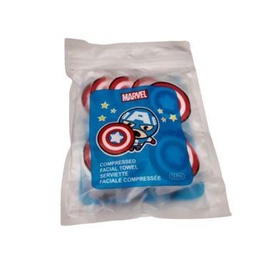 Toalla facial comprimida x10 piezas Marvel, Pequeña , Capitan America