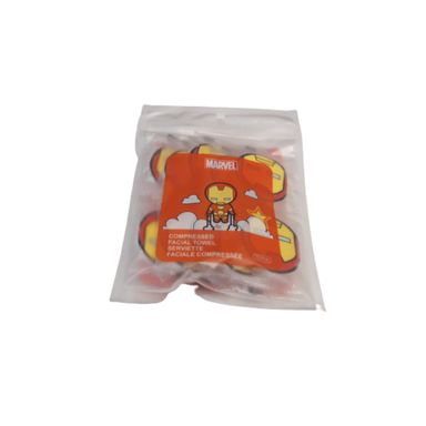 Toalla facial comprimida x10 piezas Marvel, Pequeña , Iron Man