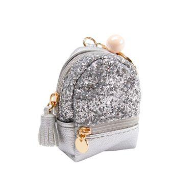 Llavero monedero forma de mochila, Pequeño, Gris