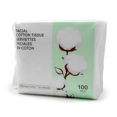 Pañuelos faciales de algodón suaves x100 piezas, Mediano, Blanco