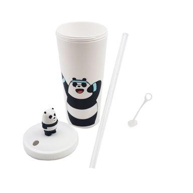 Vaso Plástico con pitillo en tapa osos We Bare Bear, Grande, Panda
