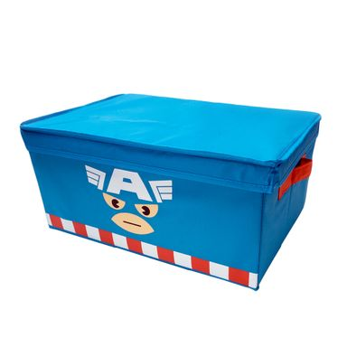 Caja organizadora almacenamiento con tapa Capitán América Marvel, Grande, Azul