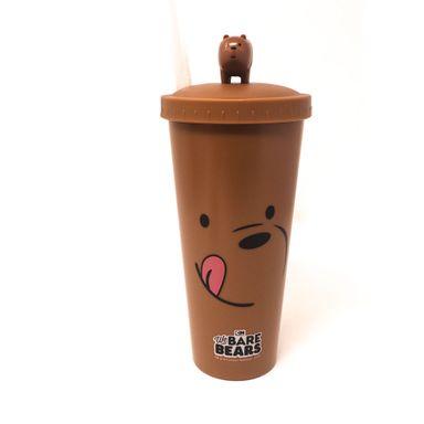 Vaso Plástico con pitillo en tapa osos We Bare Bear, Grande, Pardo