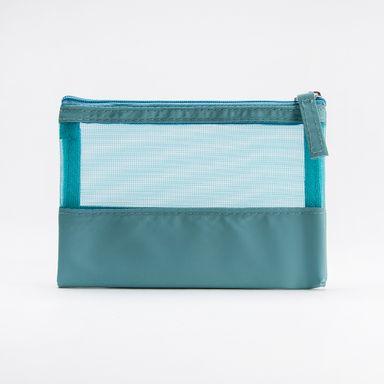 Cosmetiquera cuadrada con malla, Mediana, Azul