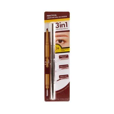 Lápiz delineador de cejas punta angular 3 en 1 0,6 gr, Pequeño, Café