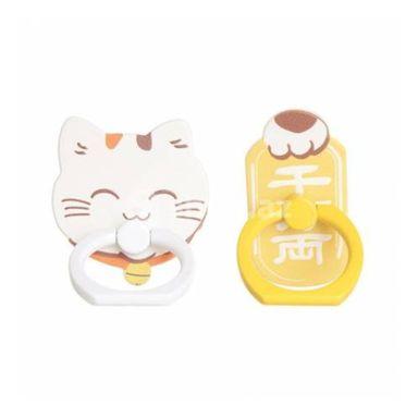 Soporte Para Celular, Tipo Anillo 2 Pzas Tokio, Pequeño, Gato Amarillo