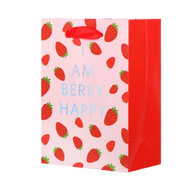 Bolsa Para Regalo, De Papel Con Estampado De Fresas, Pequeña, Roja