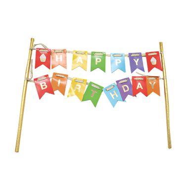 Letrero De Decoración Con Banderas Happy Birthday, Multicolor
