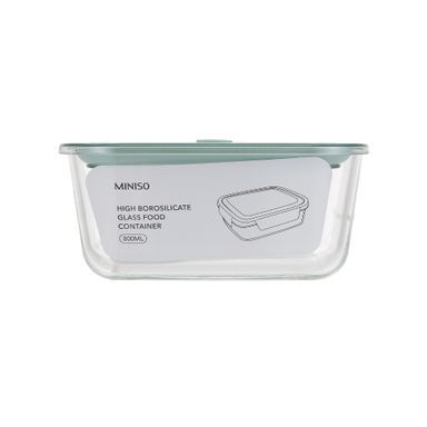 Contenedor de vidrio con divisiones 800 ml, Mediano, Verde