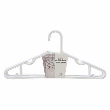 Paquete de ganchos de ropa x10, Grande, Blanco