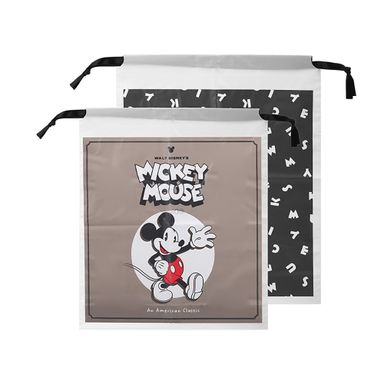 Bolsa Con Cordon, Para Regalo, Mickey Mouse, 2Pzs Disney, Negro