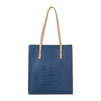 Bolso De Hombro, Diseño Cocodrilo, Mediano, Azul Marino