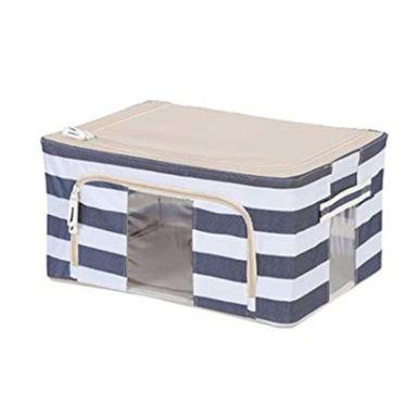 Caja De Almacenamiento, Plegable Rayas, Mediana, Azul