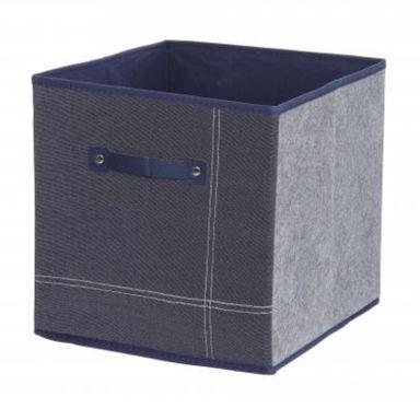 Caja De Almacenamiento Plegable, Cuadrada De Mezclilla, 30*30*30Cm, Azul Oscuro