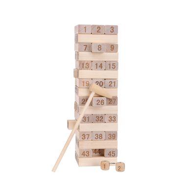 Juego torre de bloques de madera con números, Mediano, Natural
