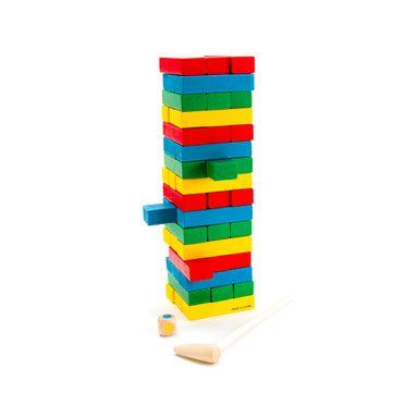 Juego torre de bloques de madera, Mediano, Multicolor