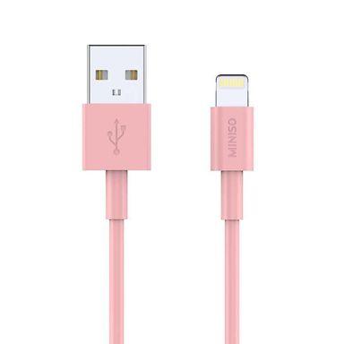 Cable De Carga Rapida, Usb A Lightning, 2.4A 1 Mt, Rosa