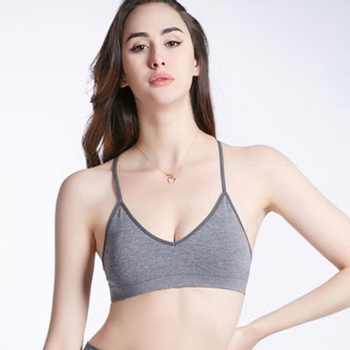 Brasier Deportivo Para Mujer, Comodo Gris, Talla S/M