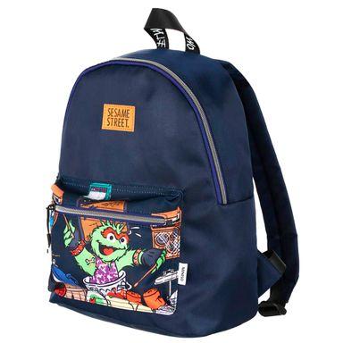 Morral Escolar, Bolsillo Cartoon Plaza Sesamo, Mediano, Azul