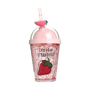 Vaso De Plastico, De Hielo Doble Tapa, Fresa 380Ml, Mediano, Rosa