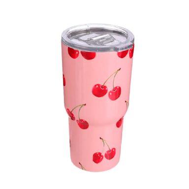 Vaso De Acero, Con Diseño De Cereza 500 Ml, Mediano, Rosa