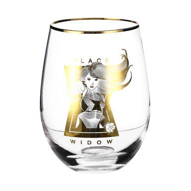 Vaso de vidrio edición Gold 535 ml Marvel, Mediano, Dorado, Black Widow